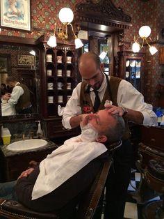 #Disneyland Paris. Getting a shave at Dapper Dan's Hair Cuts Barber Shop on Main Street #DLRP #DLP #Disney