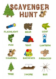 Camping Scavenger Hunt {FREE DOWNLOAD} #freedownload #scavengerhunt  *hint - Use a teddy bear for the bear and gummy fish for the fish!