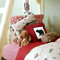 gotta love the faux log pillow- this is a great idea for a little boy's room