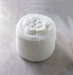 Cottage Rose Crochet Toilet Paper Cover, White Flower, Bathroom Home ...