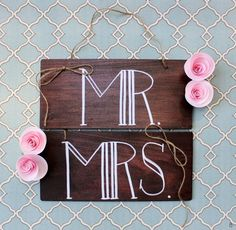 wood themed wedding mr and mrs signs