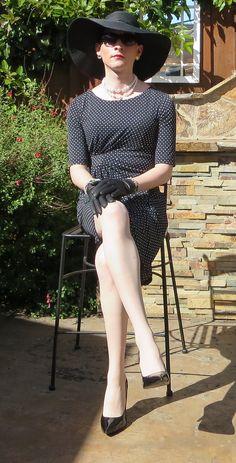 Crossdresser in| Black Chapeau/ Polka Dot Dress