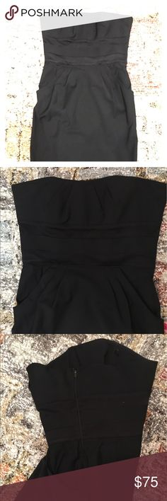 DVF strapless dress Sweetheart neckline, grosgrain ribbons at bust and a pleated bodice with pockets!  New, sturdier hidden side zip has been professionally added. Perfect to pair with a blazer for an easy day to night look. Diane von Furstenberg Dresses Midi