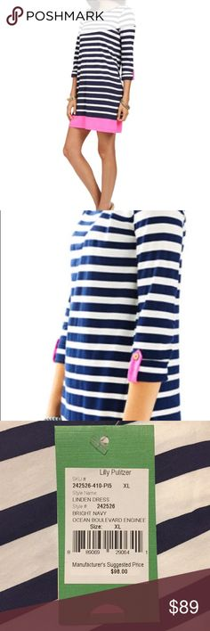 NWT Lilly Pulitzer Linden Dress Navy Ocean Stripe NWT Lilly Pulitzer Linden Dress in Bright Navy Blue - Ocean Boulevard Engineered Print.  This adorable blue & white striped dress is 100% Pima Cotton with pink tabs on the sleeves & a pink stripe at the bottom.  This long sleeve A line T shirt dress is perfect for summers at the beach or pool.  Can be a swim cover up & be dressed up for a classy look.  Retails $98  - please see gold foil over interior label (to prevent full store returns)…