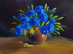Downloaden - Olieverfschilderij - stilleven, een boeket van bloemen, wilde bloemen — Stockbeeld #69323397