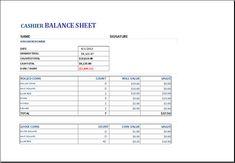 cashier balance sheet download at httpwwwxltemplatesorgcashier