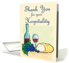 Thank You for your Hospitality Bread and Wine card