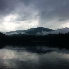 Morning mist on Lake Santeetlah, North Carolina.