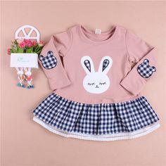 Ucuz Elbiseler Doğrudan Çin Kaynaklarında Satın Alın: Sonbahar yeni kız bebek uzun kollu pamuklu karikatür elbise sevimli tavşan deseni çocuk t- shirt ekose ipliği prenses etekBoyutu: 100-140 3-8 yaş çocuklar için