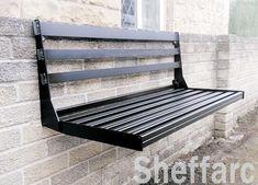 Wall Bench, Wall Seating, Diy Bench, Chair Bench, Bench Cushions, Planter Bench, Folding Seat, Folding Walls, Cafe Restaurant