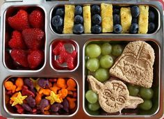Bento Box Lunches For Kids  Star Wars Sandwich Bento Box Lunch Get the Star Wars Sandwich bento Box Lunch from Wendolonia   If your kid is a Star Wars fan, they'll appreciate these sandwiches made with the help of special cookie cutters. Pack the bento box with lots of fresh fruit and some gold fish crackers for snacking.