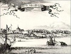 New+Amsterdam | View of New Amsterdam, engraving. circa 1670