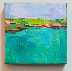 "By the coast"" Original oil painting on canvas 6"" x 6"""