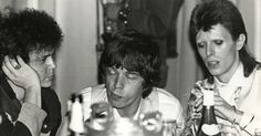 Here are some interesting black and white photos of Lou Reed, Mick Jagger and David Bowie taken by photographer Mick Rock  at the Cafe Royal...