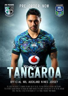 #Tangaroa, the jersey the Vodafone Warriors will wear at the second Dick Smith NRL Auckland Nines in 2015. The design pays homage to Tangaroa, the #Maori god of the #ocean #Merchandise #WarriorsForever #NRL #AucklandNines #Jerseys #Paua #NewZealand #ShaunJohnson #Poster