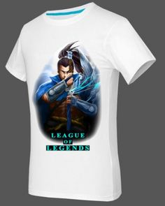 Yasuo white tshirt short sleeve for boys XXXL game League of Legends-