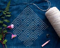 Sashiko Stencil By Acrylic -Sashiko Embroidery Pattern -Quilting Stencil Hand Embroidery Design Patterns, Hand Embroidery Videos, Embroidery Stitches Tutorial, Hand Work Embroidery, Embroidery Flowers Pattern, Creative Embroidery, Simple Embroidery, Embroidery Techniques, Japanese Embroidery