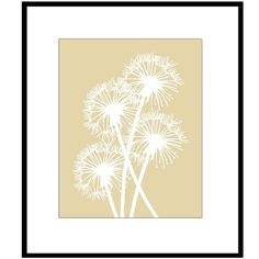 Dandelions - 8 x 10 Floral Poppy Silhouette Print - Neutral Tan and White - Clean, Modern, Whimsical, Happy