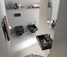 Duravit - Bathroom design series: Vero - washbasins, toilets, bidets and bath tubs from Duravit. Contemporary Bathrooms, Modern Bathroom, Small Bathroom, Duravit, Home Interior Design, Interior Decorating, Stylish Interior, Black White Bathrooms, Bidet