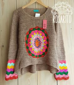 Crochet Jacket, Crochet Poncho, Love Crochet, Crochet Mandala, Crochet Blouse, Crochet Woman, Beautiful Crochet, Knit Dress, Crochet Bikini