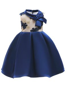 In Stock:Ship in 48 Hours Blue Satin High Neck Flower Girl Dress With Bow Girls Party Wear, Party Wear Dresses, Wedding Dresses, Little Girl Dresses, Girls Dresses, Flower Girl Dresses, African Dresses For Kids, Princess Dress Kids, Princess Gowns
