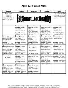 April Lunch Menu for High School & Middle School.