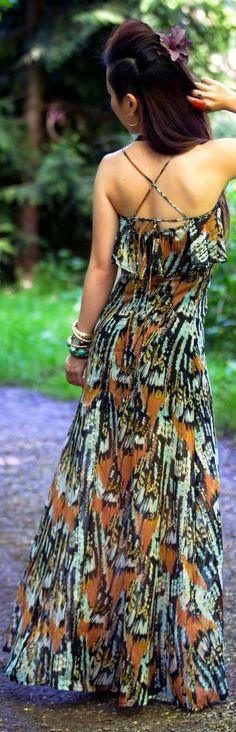 Street style fashion - Rvca Black And Orange Tribal Print Ruffle Neckline Criss Cross Strap Maxi Sundress