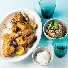 Grilled chicken with spiced rice