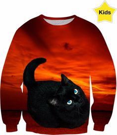 Cat and Red Sky Kids Sweatshirt   #erikakaisersot #RageOn #sweatshirt #cats