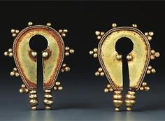 Indonesia ~ Central Flores, Ngada | Oval ear ornaments (bela); gold | 19th century || Source: 'Gold Jewellery of the Indonesian Archipelago', page 175