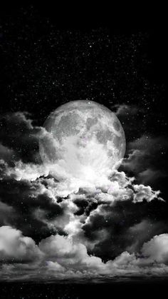 La Lune Noire – www. Night Sky Moon, Stars At Night, Stars And Moon, Night Skies, Moon In The Sky, Stars Wallpaper, Galaxy Wallpaper, Wallpaper Space, Iphone Wallpaper