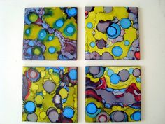 ORIGINAL Set of 4 Abstract Bold Colored Tile by TracyHallArt, $60.00