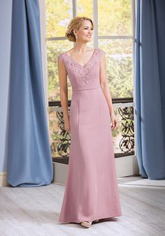 Simple Mother Of The Bride Dress With Soft And Elegant Beading On V Neckline