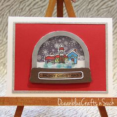 Christmas Card Featuring Lawn Fawn Ready, Set, Snow Shaker Card