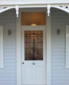 Leadlight window for Villa Door @ Glassarts Design Auckland Entrance Doors, Doorway, Garage Doors, Auckland, Villas, Window Treatments, Stained Glass, Glass Art, Cottage