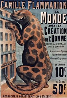 Not exactly paleoart per se. Cover to Camille Flammarion's Le monde avant la création de l'homme ('The world before man's creation') in most probably featuring an iguanodon.