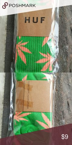 Weed Socks Green w/ pink leaves. New. 90% cotton, 9% polyester, 1% spandex. Crew style. Will fit sizes 7-12. Accessories Hosiery & Socks