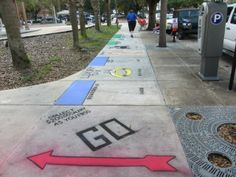 Monopoly sidewalk chalk art, so awesome!!