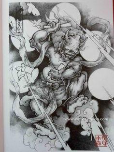 传统枫叶雷神雷震子纹身手稿