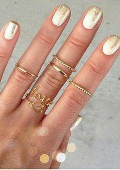 Greek Goddess Nails - Blanc Dipped in Gold Shimmer