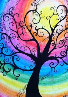 Creepy Swirly Rainbow Tree - Water Color Canvas by BubbleFab,Color Tree NEW Diamond Painting Kit -Diamond Paintings, Diamond Paintings StoreDiamond Painting Kit Full Drill, C-TOP DIY Rhinestone Crystal Embroidery Pictures Cross Stitch for Home Room D Arte Fashion, Paint And Sip, Rainbow Art, Rainbow Painting, Rainbow Swirl, Whimsical Art, Tree Art, Painting Inspiration, Tattoo Inspiration