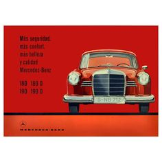 Rare Original Vintage Mercedes Benz Advertising Poster | From a unique collection of antique and modern posters at https://www.1stdibs.com/furniture/wall-decorations/posters/