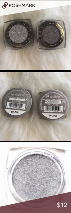 L'Oréal infallible eyeshadow lot bundle L'Oréal eyeshadows in liquid diamond and silver sky both are new, eyeshadows doesn't come with a seal or wrap so it's marked NWT because that's how they came when purchased. :) I love these shimmer colors for inner corner of eyes hilight. According to loreals site it states eyeshadow is waterproof and fadeproof for 24 hours. Velvety formula. Last two pics are from internet. L'Oreal Makeup Eyeshadow
