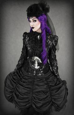 Restyle Ballon Rock Cabaret Skirt Gothic Lolita Petticoat Stripes Tuell Burlesque