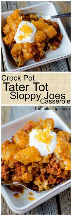 Super easy to make Crock Pot Tater Tot Sloppy Joes Casserole Recipe. Made with ground beef the entire family will love this slow cooker recipe. The crockpot does all the work and you have a great family meal! via @tammileetips