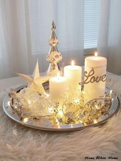 Christmas candle lights have been popular Christmas decorations for many years. Christmas Coffee, Noel Christmas, Winter Christmas, Christmas Crafts, Coffee Table Christmas Decor, Christmas Music, Christmas Ideas, Christmas Candle Decorations, Christmas Candles