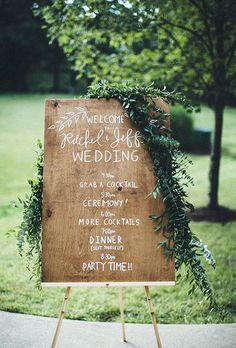 Welcome sign for a rustic chic wedding ~ http://www.brides.com/wedding-ideas/2015/07/wedding-welcome-signs