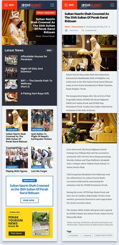 User Interface Design UI Kit for news page design on mobile phone