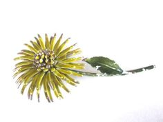 Autumn Yellow Flower #Brooch Mid Century Enamel Chippy by ElmPlace, $24.00#vintagejewelry