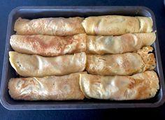 Naleśniki zapiekane z mięsem i warzywami - Blog z apetytem Bacon Wrapped Pineapple, Aga, Sausage, Food And Drink, Chicken, Dinner, Blog, Pierogi, Cement